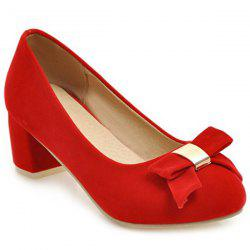 Round Toe Bowknot Pumps - RED