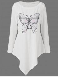 Butterfly Print Plus Size Asymmetrical Top - OFF-WHITE