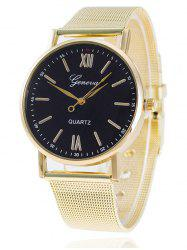 Metal Mesh Band Number Quartz Watch - BLACK