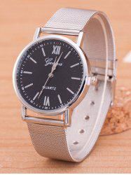 Metal Mesh Band Number Quartz Watch - SILVER AND BLACK