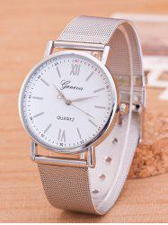 Metal Mesh Band Number Quartz Watch - SILVER AND WHITE
