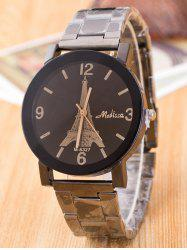 Alloy Quartz Watch with Eiffel Tower Carve