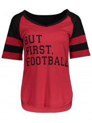 Panel Football Letter High Low T-Shirt - RED WITH BLACK L