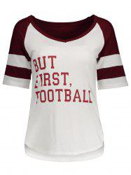 Panel Football Letter High Low T-Shirt - WINE RED XL