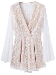 Bell Sleeve Leaf Lace Romper - WHITE M