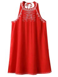 Cut Back Sleeveless Halter Embroidered Dress - RED L