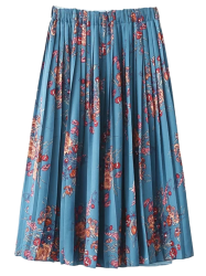 Pleated Elastic Waist Floral Skirt -