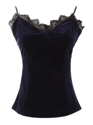 Cami Velvet Lace Insert Tank Top - PURPLISH BLUE S