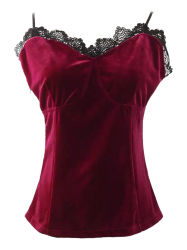 Cami Velvet Lace Insert Tank Top - WINE RED S