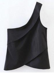 Layered One Shoulder Tank Top - BLACK L