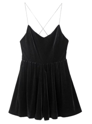 Velvet Slip Low Back Skirted Romper - BLACK L
