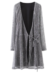 Wrap Sequines Glitter Dress with Sleeves