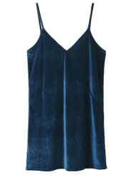 V Neck Velvet Slip Dress - LAKE BLUE XS