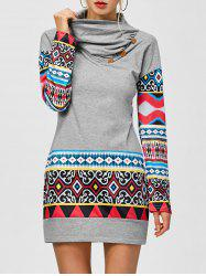 Tribal Print Long Sleeve Sheath Dress - LIGHT GRAY