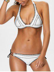 Halter Bowknot Embroidered Bikini Set