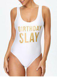 Letter Unlined One Piece Swimsuit - WHITE