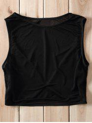 Sexy Style Jewel Neck Voile Splicing See-Through Crop Top For Women -