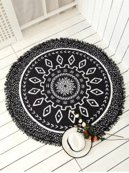 Round Argyle Mandalas Tassel Beach Throw