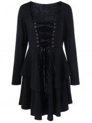 Plus Size Lace-Up Layered Gothic Flare Dress -