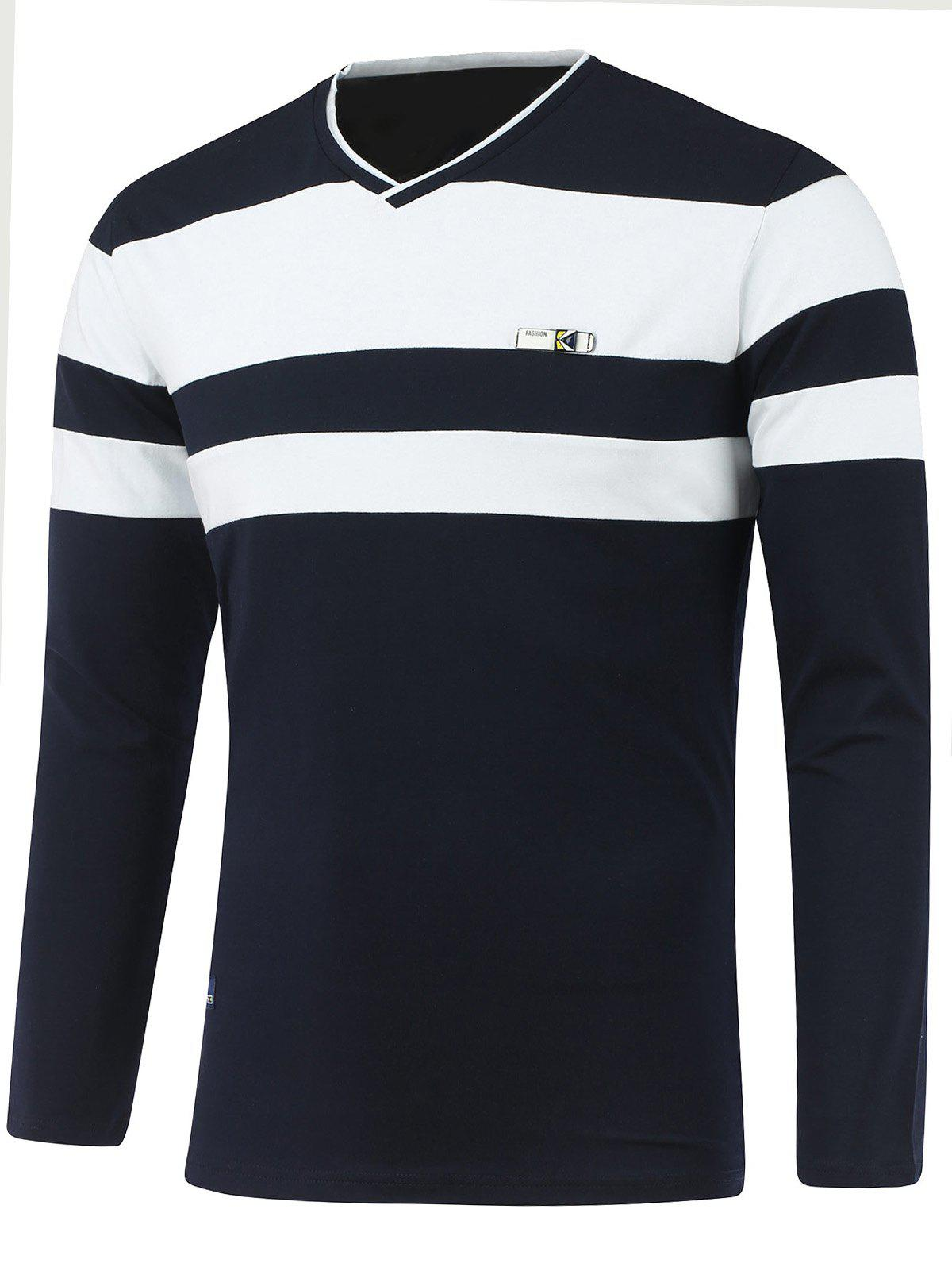 Online Long Sleeve V Neck Striped T Shirts