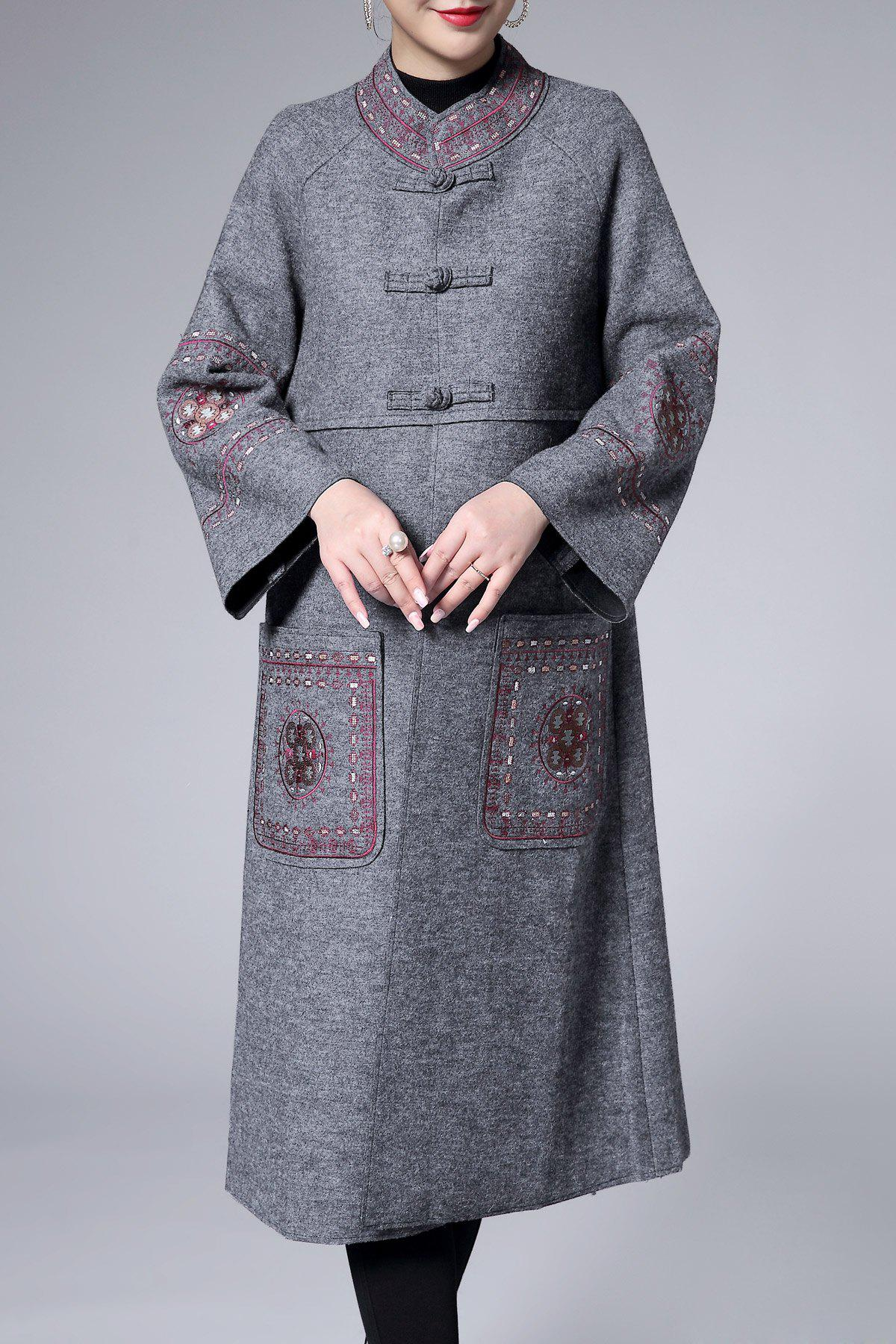 Cheap Raglan Sleeve Embroidered Trapeze Coat