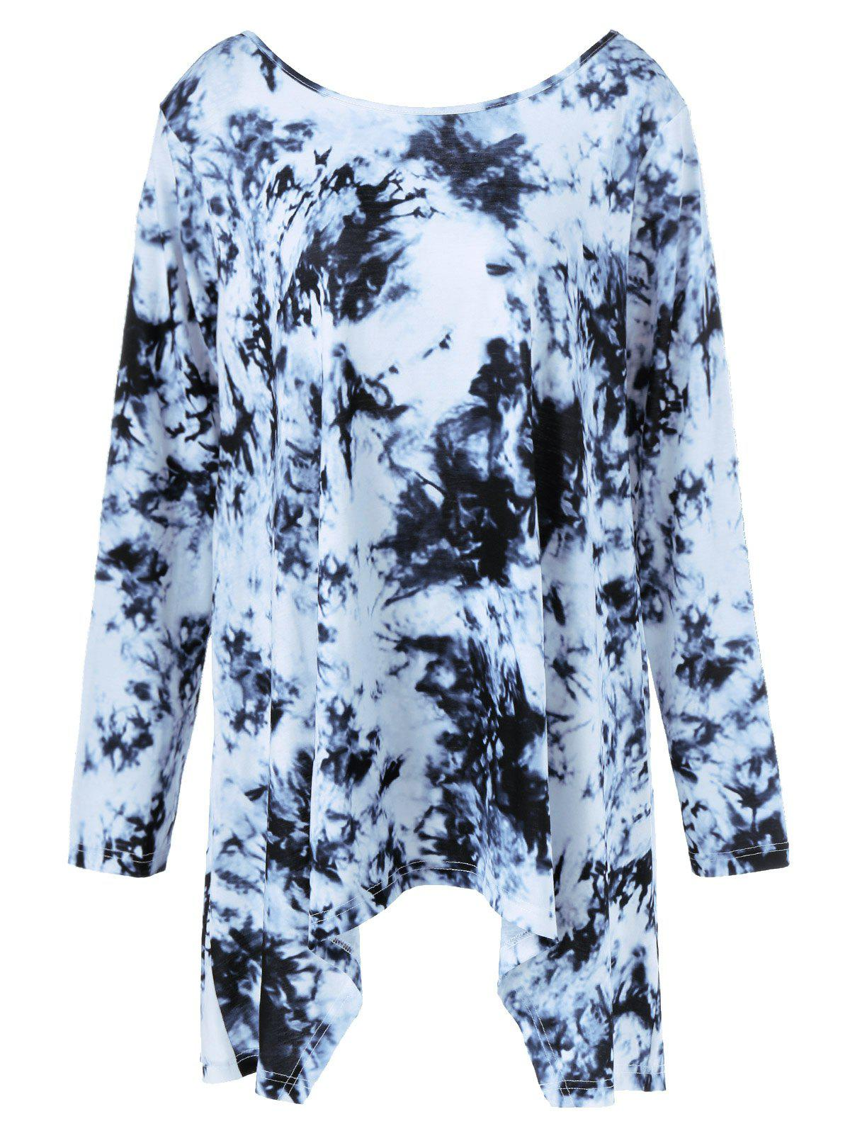 New Plus Size Criss-Cross Tie-Dyed T-Shirt