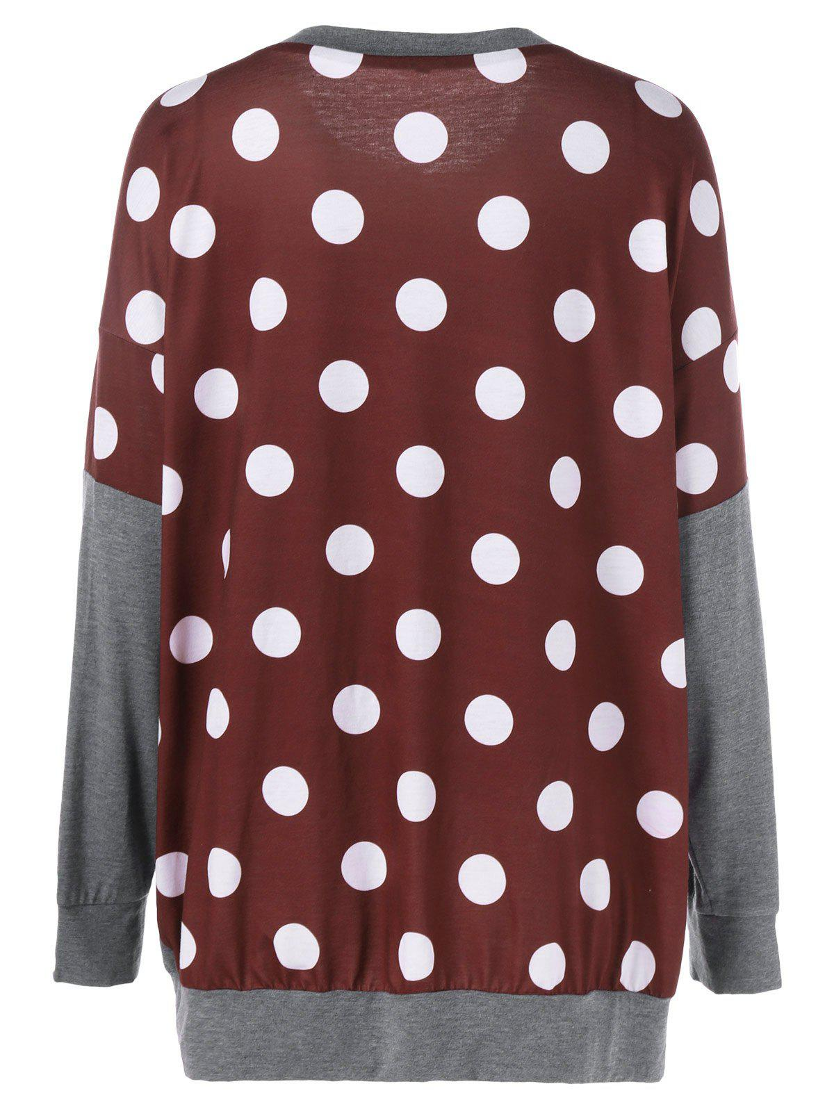 Affordable Plus Size Polka Dot Panel Tunic T-Shirt