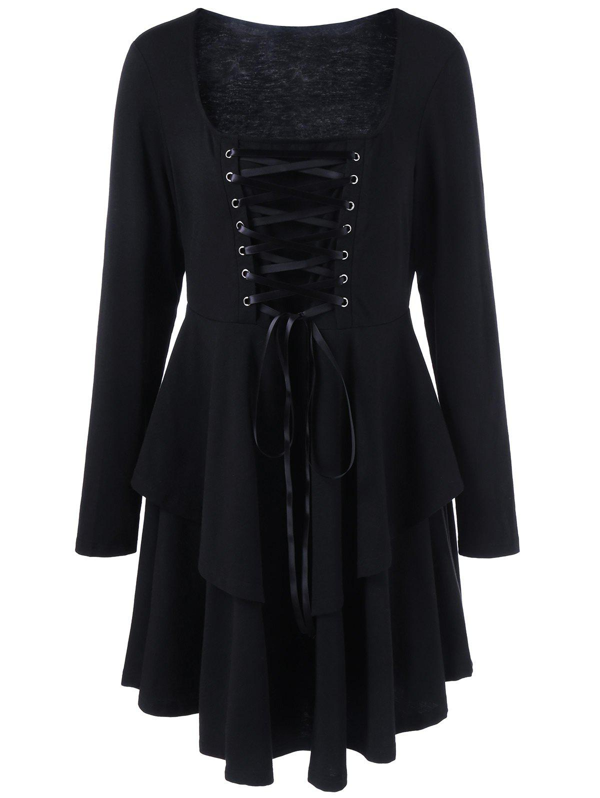 Plus Size Lace-Up Bodice Layered Flare DressWOMEN<br><br>Size: XL; Color: BLACK; Style: Lolita; Material: Polyester,Spandex; Silhouette: A-Line; Dresses Length: Knee-Length; Neckline: Square Collar; Sleeve Length: Long Sleeves; Embellishment: Criss-Cross; Pattern Type: Solid; With Belt: No; Season: Fall,Spring; Weight: 0.3700kg; Package Contents: 1 x Dress;
