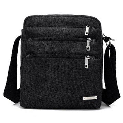 Canvas Multi Zippers Crossbody BagSHOES &amp; BAGS<br><br>Color: BLACK; Gender: For Men; Pattern Type: Solid; Closure Type: Zipper; Main Material: Canvas; Length: 23CM; Width: 12CM; Height: 27CM; Weight: 0.3600kg; Package Contents: 1 x Crossbody Bag;
