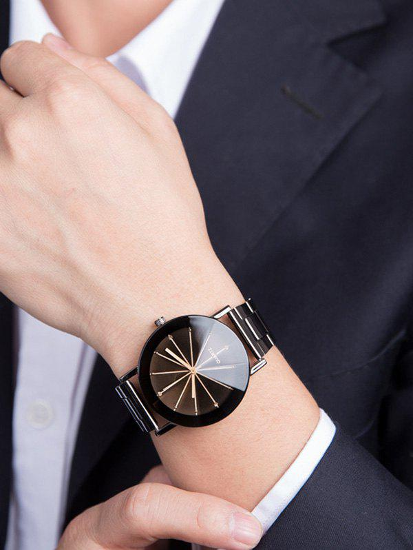 Ray Pattern Conical Surface Quartz WatchJEWELRY<br><br>Color: GUN METAL; Gender: For Men; Style: Formal; Type: Quartz watch; Index Dial: Analog; Case material: Alloy; Band material: Alloys; Movement: Quartz; Dial Shape: Round; Water-Proof: No; Case Thickness(MM): 0.9cm; Dial Diameter: 3.7cm; Band Length(CM): 23.5cm; Band Width(CM): 2cm; Package Contents: 1 x Watch;