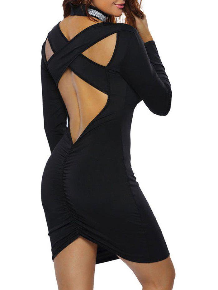 Outfit Open Back Criss Cross Long Sleeve Bodycon Club Dress