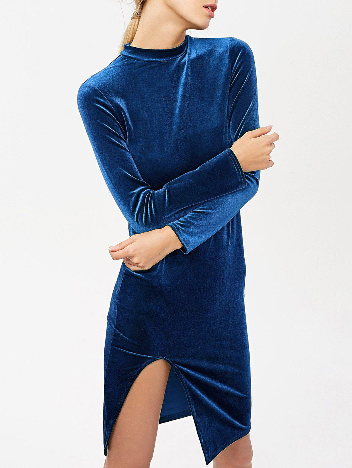 Store Stand Neck Long Sleeve Side Slit Velvet Dress