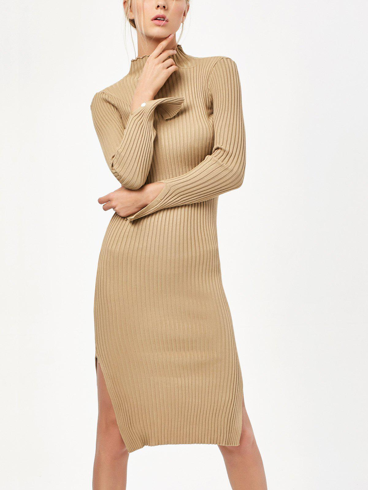 Buy Long Sleeve Side Slit Bodycon Sweater Dress