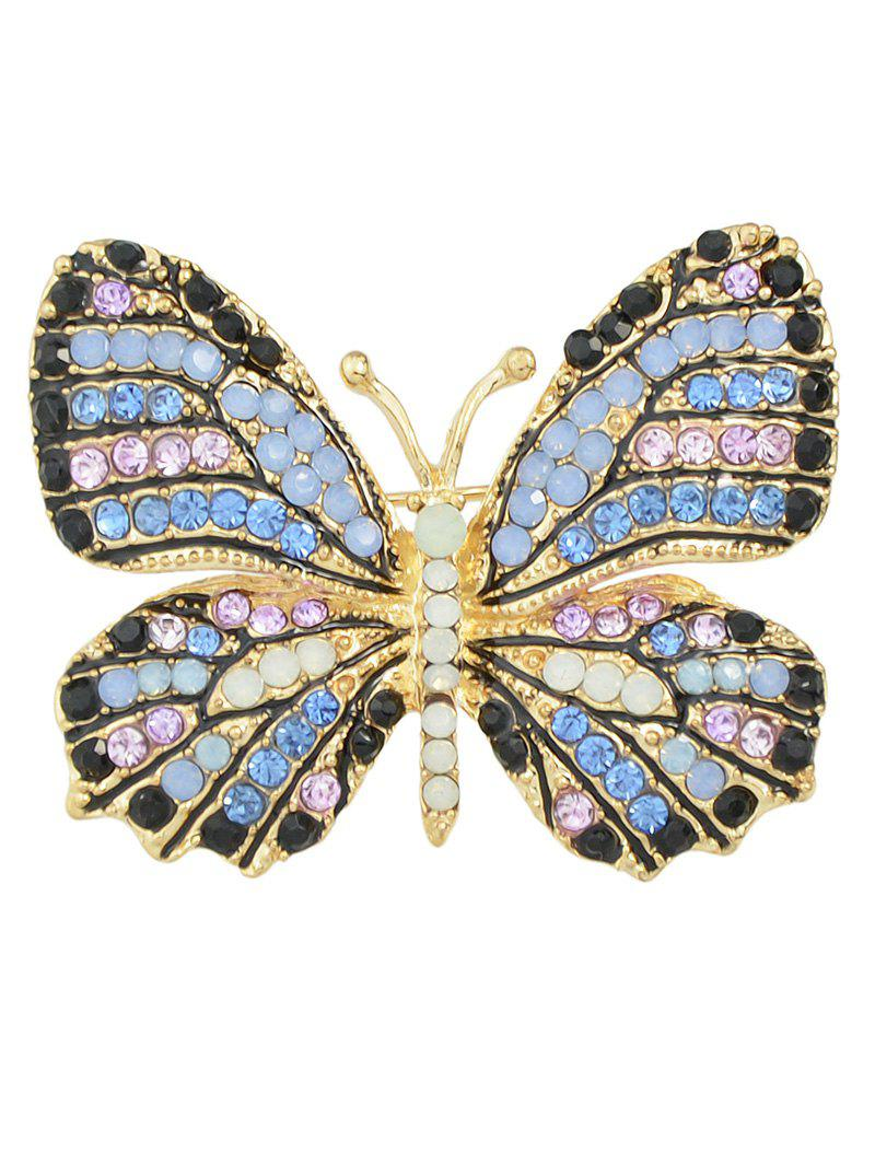 Rhinestone Studded Butterfly BroochJEWELRY<br><br>Color: BLUE; Brooch Type: Brooch; Gender: For Women; Style: Trendy; Shape/Pattern: Animal; Weight: 0.040kg; Package Contents: 1 x Brooch;