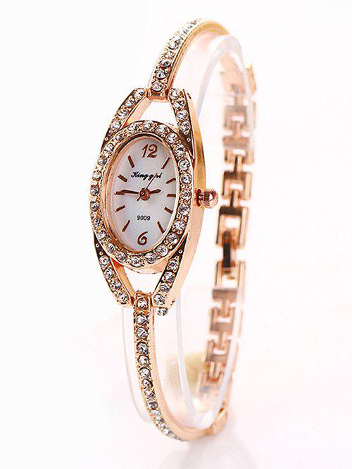Trendy Alloy Bracelet Oval Watch with Rhinestones