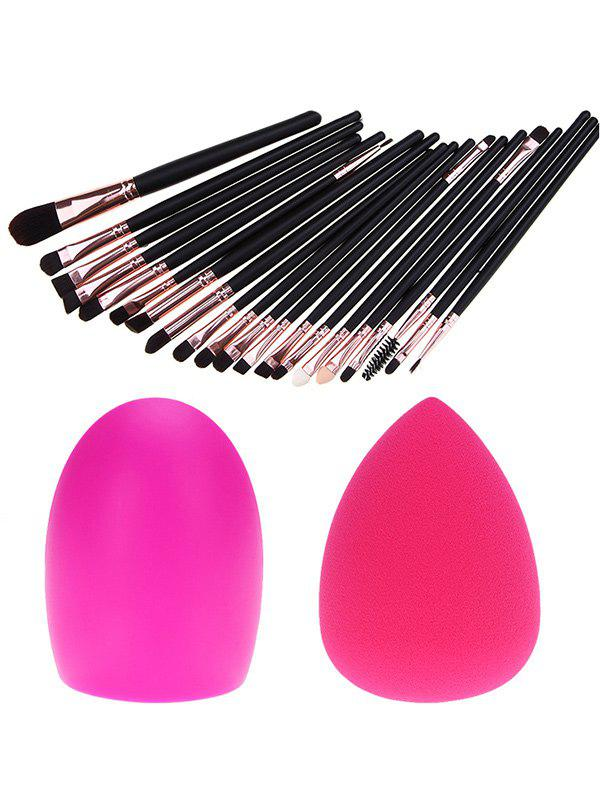 20 Pcs Fiber Eye Makeup Brushes Set + Makeup Sponge + Brush EggBEAUTY<br><br>Color: BLACK; Category: Makeup Brushes Set; Brush Hair Material: Synthetic Hair; Features: Professional; Season: Fall,Spring,Summer,Winter; Weight: 0.1800kg; Package Contents: 20 x Brushes (Pcs)  1 x Makeup Sponge  1 x Brush Egg;