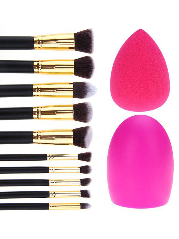10 Pcs Makeup Brushes Set + Brush Egg + Makeup SpongeBEAUTY<br><br>Color: BLACK; Category: Makeup Brushes Set; Brush Hair Material: Synthetic Hair; Features: Professional; Season: Fall,Spring,Summer,Winter; Weight: 0.2300kg; Package Contents: 10 x Brushes (Pcs)  1 x Makeup Sponge  1 x Brush Egg;