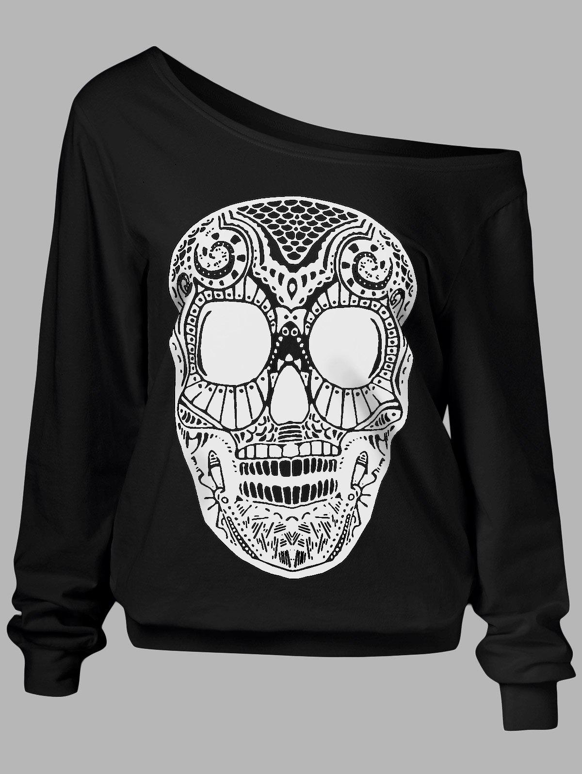 Skull Print Skew Collar Plus Size SweatshirtWOMEN<br><br>Size: 3XL; Color: BLACK; Material: Polyester,Spandex; Shirt Length: Long; Sleeve Length: Full; Style: Casual; Pattern Style: Skulls; Season: Fall,Spring; Weight: 0.3700kg; Package Contents: 1 x Sweatshirt;
