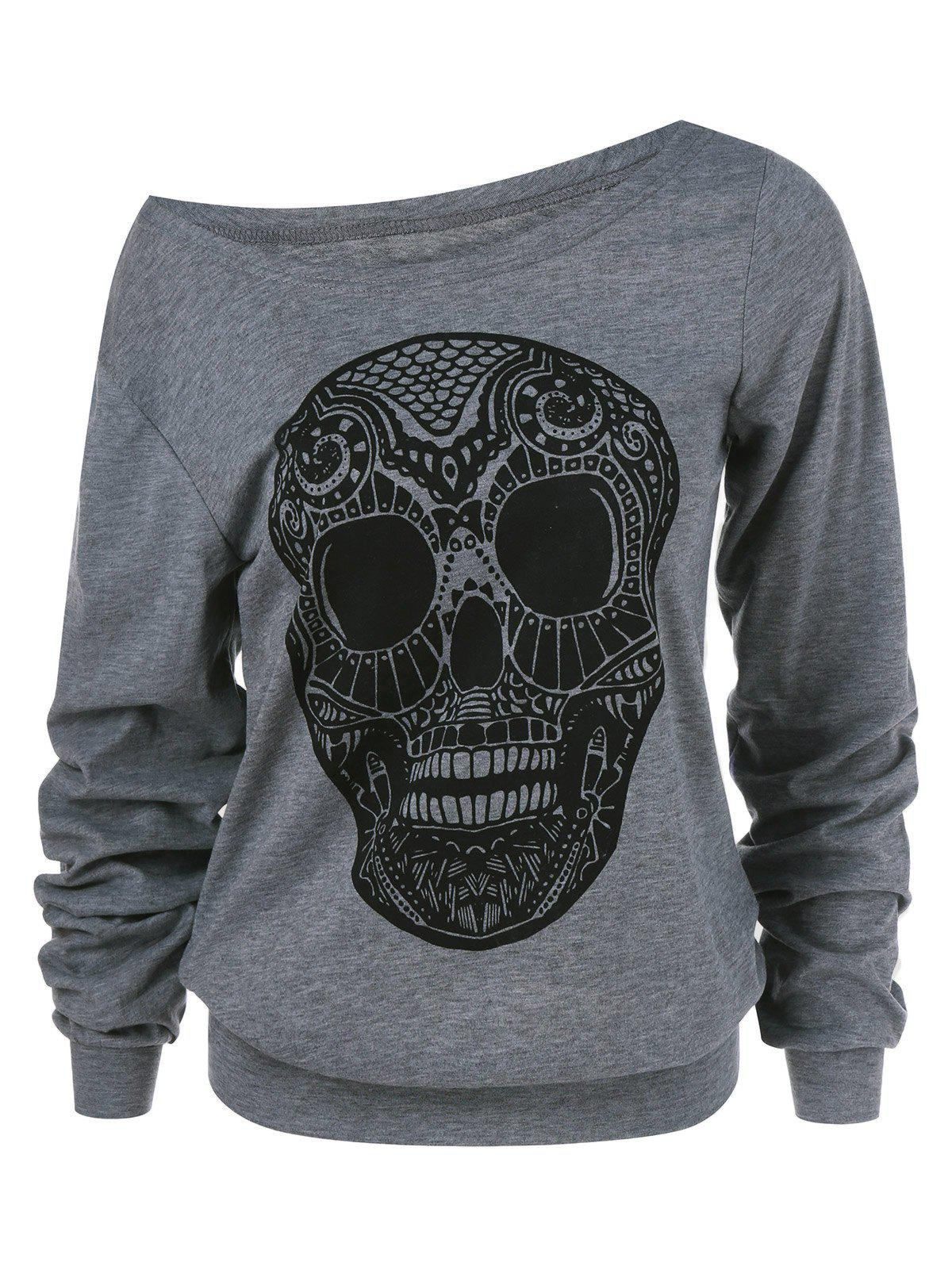 Discount Halloween Skull Print Skew Collar Plus Size Sweatshirt