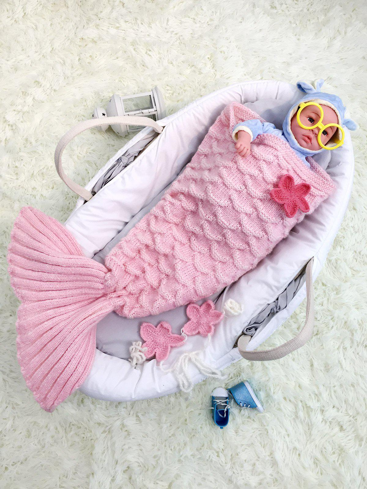 Little Mermaid Knitted Baby Girl BlanketsHOME<br><br>Color: PINK; Type: Knitted; Material: Acrylic; Pattern Type: Solid; Size(L*W)(CM): 80*70CM; Weight: 0.390kg; Package Contents: 1 x Blanket Throw;