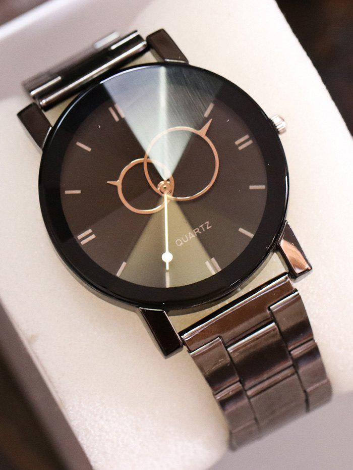 Circle Stainless Steel Band Quartz WatchJEWELRY<br><br>Color: BLACK; Gender: For Women; Style: Fashion; Type: Quartz watch; Case material: Alloy; Band material: Stainless Steel; Movement: Quartz; Dial Shape: Round; Water-Proof: No; Case Thickness(MM): 9MM; Dial Diameter: 3.7CM; Band Length(CM): 23.5CM; Band Width(CM): 2CM; Package Contents: 1 x Watch;