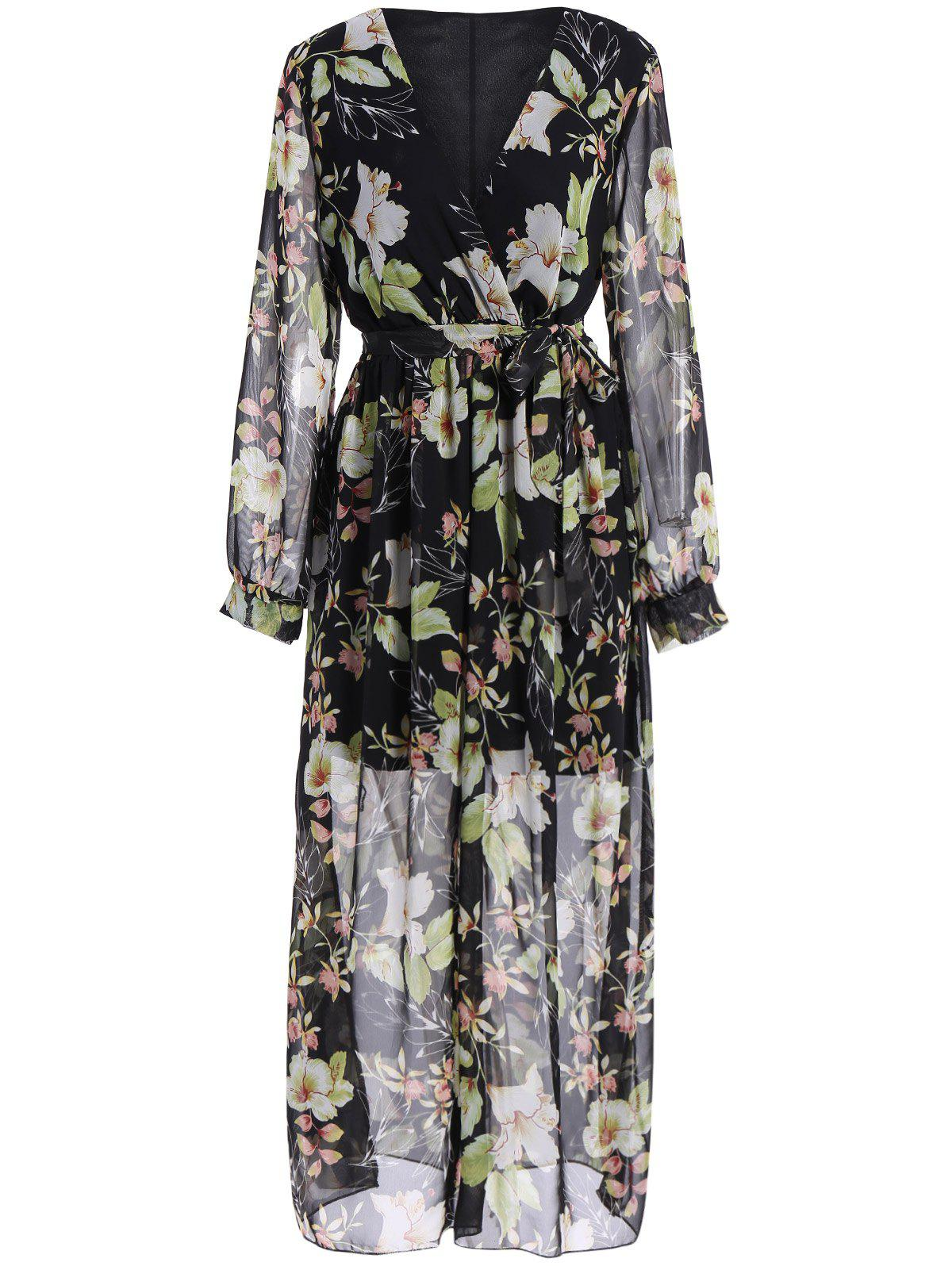 Outfit Plus Size Chiffon Full Sleeve Floral Maxi Dress