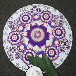 Ethnic Flower Print Round Beach Throw