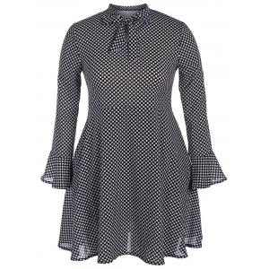 Plus Size Polka Dot Bow Tie Long Sleeve Flare Chiffon Dress