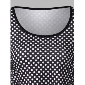 Polka Dot and Floral T-Shirt - WHITE AND BLACK XL