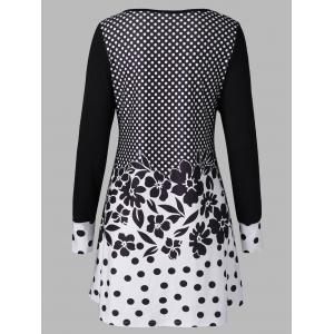 Polka Dot and Floral T-Shirt - WHITE AND BLACK M