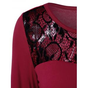 Lace Trim Openwork T-Shirt - RED WITH BLACK XL