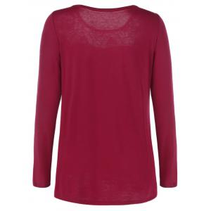 Lace Trim Openwork T-Shirt - RED WITH BLACK M