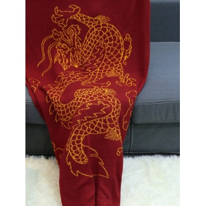 Chinese Dragon Knitted Mermaid Blanket Throw - WINE RED