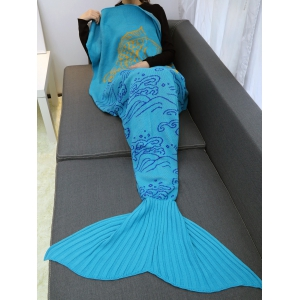 A Fish Leaping Over The River Design Knitted Mermaid Blanket Throw - LAKE BLUE